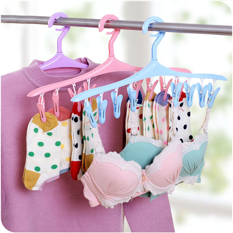 2017 New Clothes Pegs 8 Clips Plastic Hangers Underwear