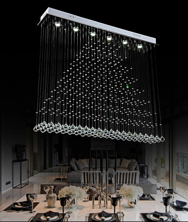 Long Dining Room Chandeliers: 2015 New Long Hanging Crystal Ball Chandelier For Dining