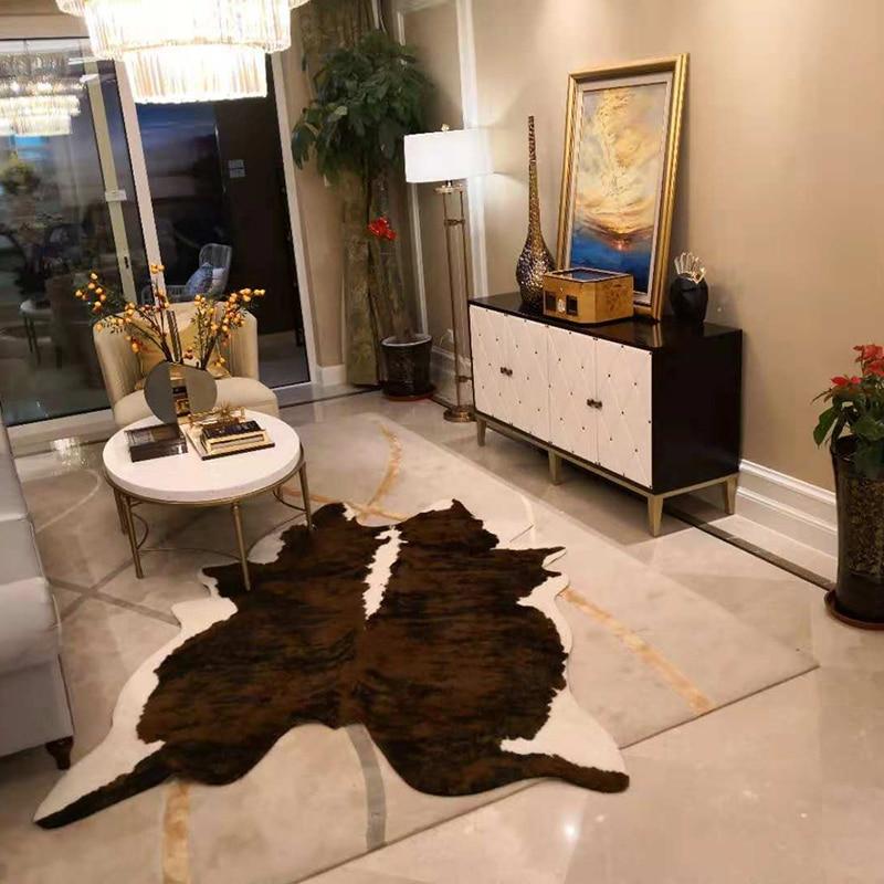 Vache artificielle peau de zèbre tapis peau de vache grande taille marron noir blanc tapis Simple chambre Imitation peau de vache tapis salon