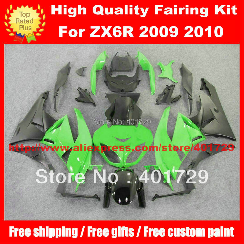 Custom motorcycle body work for Kawasaki ZX6R 2009 2010 09 10 green/black high grade fairng set with free heatshield