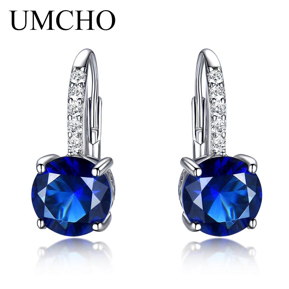 UMCHO Ronda 4.5ct Creado Azul Zafiro Clip Pendientes Para Las Mujeres - Joyas