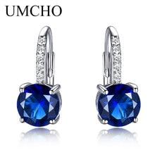 UMCHO Yuvarlak 4.5ct Oluşturulan Mavi Safir Klip Küpe Kadınlar Için Katı 925 Ayar Gümüş 2018 Yeni Güzel Takı Kadınlar Için Hediye