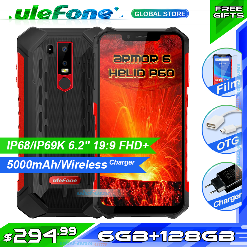 "Ulefone Armor 6 IP68 Waterproof Phone Helio P60 6GB+128GB 5000mAh wireless charger Rugged Smartphone 6.2"" Android 8.1 NFC Face(China)"