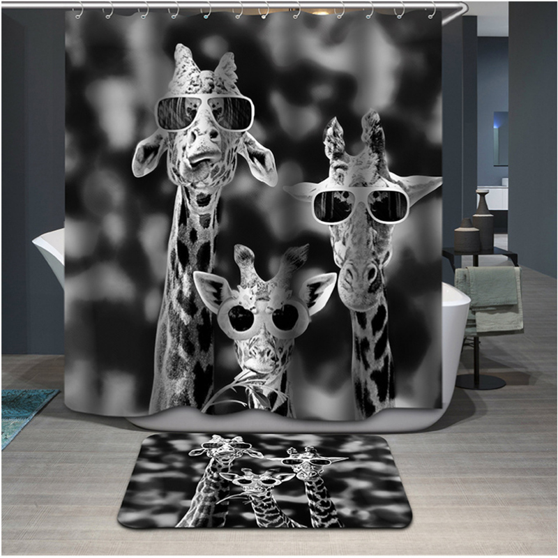 Aliexpress.com : Buy Cool Giraffe Animal Printting Waterproof Thickening  Bath Curtains 3d Shower Curtain For Bathroom Custom With 12 X C Type Hooks  From ...