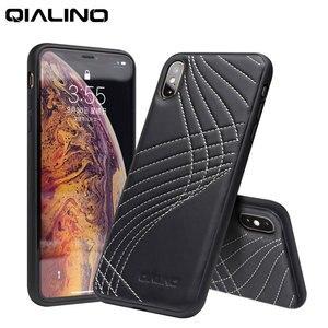 Image 2 - QIALINO Funda de cuero genuino con Corve para iPhone, funda trasera ultrafina de lujo para iPhone X/XS/XR/XS Max 5,8/6,5 pulgadas