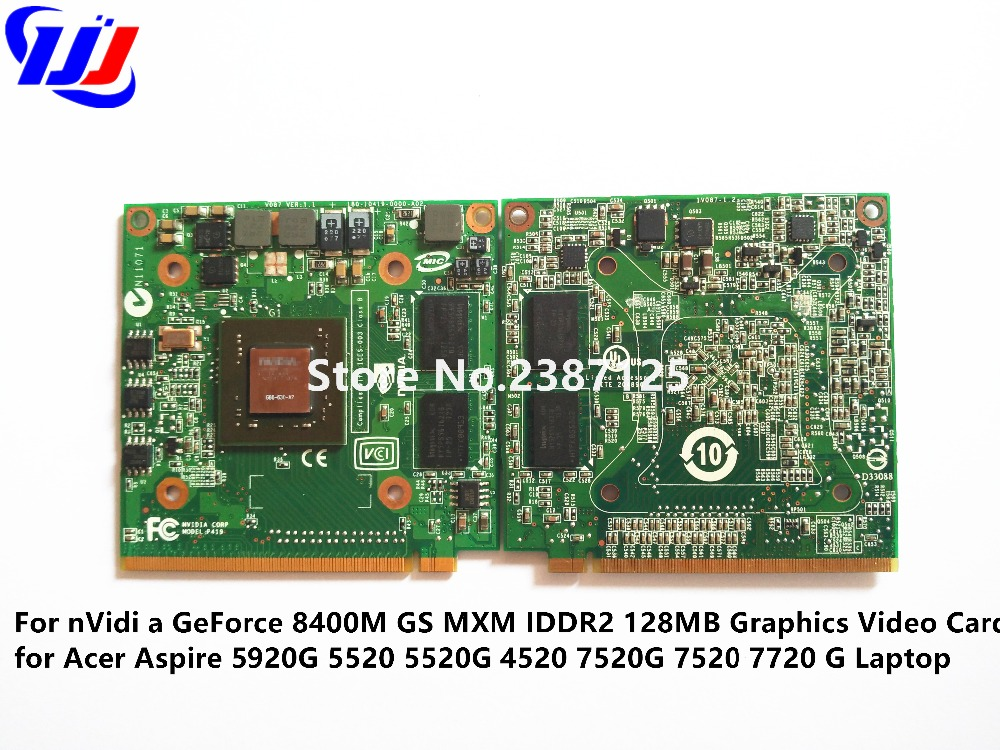 Za n V i d i a GeForce 8400M GS MXM IDDR2 128MB Grafična video kartica za A c e r Aspire 5920G 5520 5520G 4520 7520G 7520 7720G