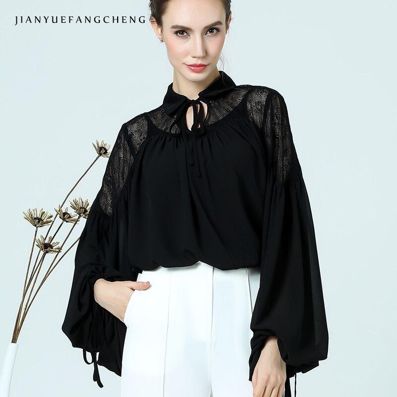 Ladylike femmes haut d'été 2018 en mousseline de soie Blouse grande taille lanterne manches noir dentelle haut ample évider femme chemise