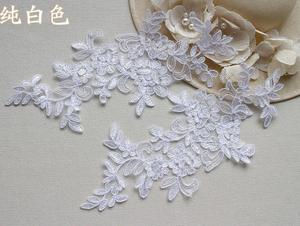 Image 2 - 6 ピース/3 ペア 27*11 センチブリンブリンスパンコール刺繍ブライダルドレス結婚式の装飾縫製レースアップリケトリムクラフト