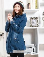 Plus Size S/M/L/Xl/Xxl 2013 New Women Autumn Winter Warm Washed Denim Jacket Plus Velvet Thick Jeans Coat Free Shipping B1524