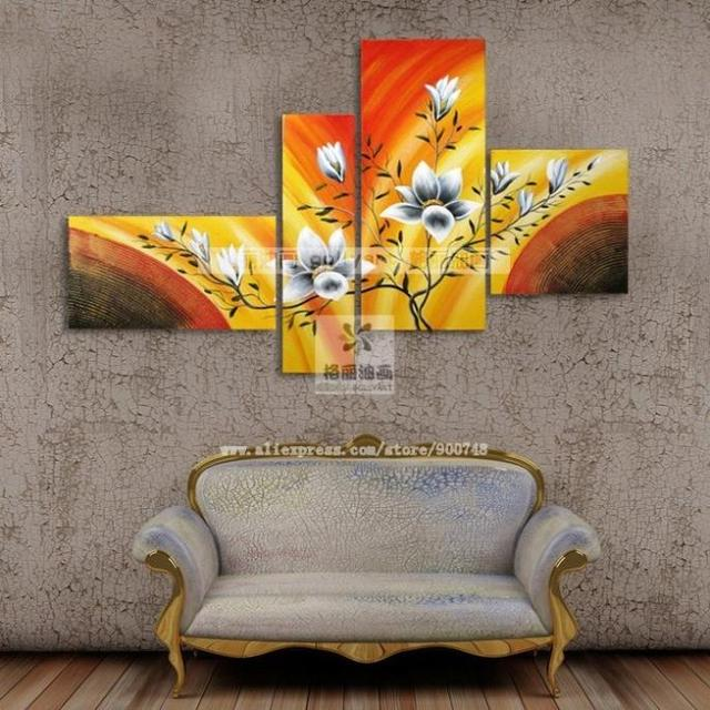 100% hand painted 4 pcs set decorative paintings mural picture free shiping art for girls artistes oil paintings on canvas