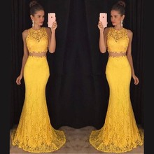 2016 Sexy Long Two 2 Piece Prom Dresses Cheap Mermaid Evening Dress Yellow Turquoise Pink Coral Robe Bal de Promo