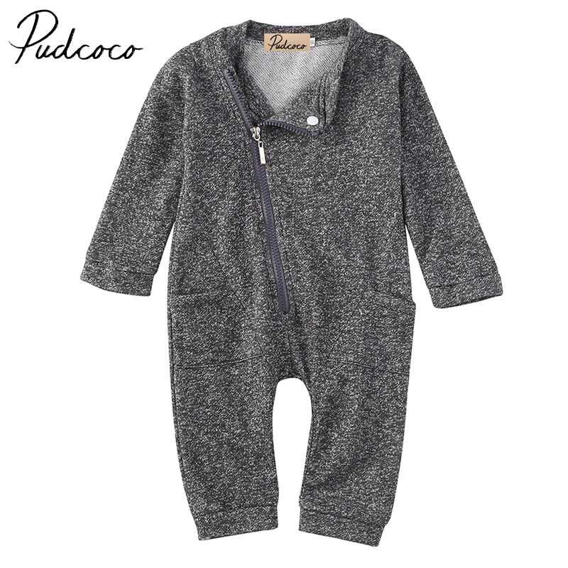 PUDCOCO Brand Casual USA Baby Boys Girls Zipper Clothes Infant Long Sleeve Romper Jumpsuit Clothes Outfit 0-24M baby clothing summer infant newborn baby romper short sleeve girl boys jumpsuit new born baby clothes