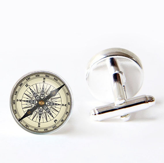 2017 Tie Clip Mens Cuff Links Vintage Brass For Compass Design Link Men Accessories Cufflinks High Quality Photo Jewelry