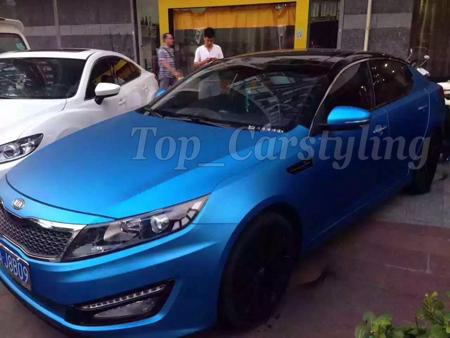 Color Aluminum Blue Matte Chrome Car Wrap Vinyl Foile Film