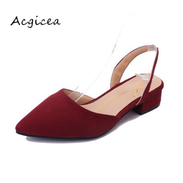 b931fb3b31c 2019 low-heeled 3cm high heels thick with pointed shallow mouth suede sandals  female summer spring shoes Women sandals s014