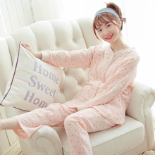 Maternity Nursing Nightwear long sleeve 2pcs/set Sleepwear Breastfeeding pajamas set for Pregnant Women