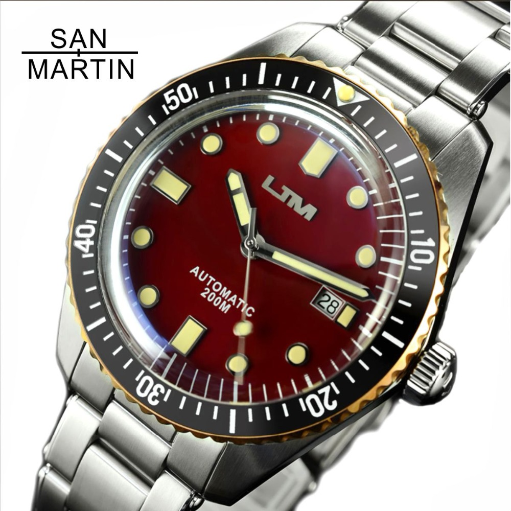 San Martin Sixty Five Men Vintage Diving Watch Stainless Steel Automatic Watch 200 Water Resistant Bronze