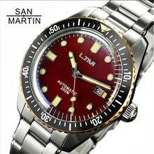 סן מרטין שישים חמישה גברים בציר צלילה שעון נירוסטה אוטומטית שעון 200 מים עמיד ברונזה טבעת רטרו שעוני יד
