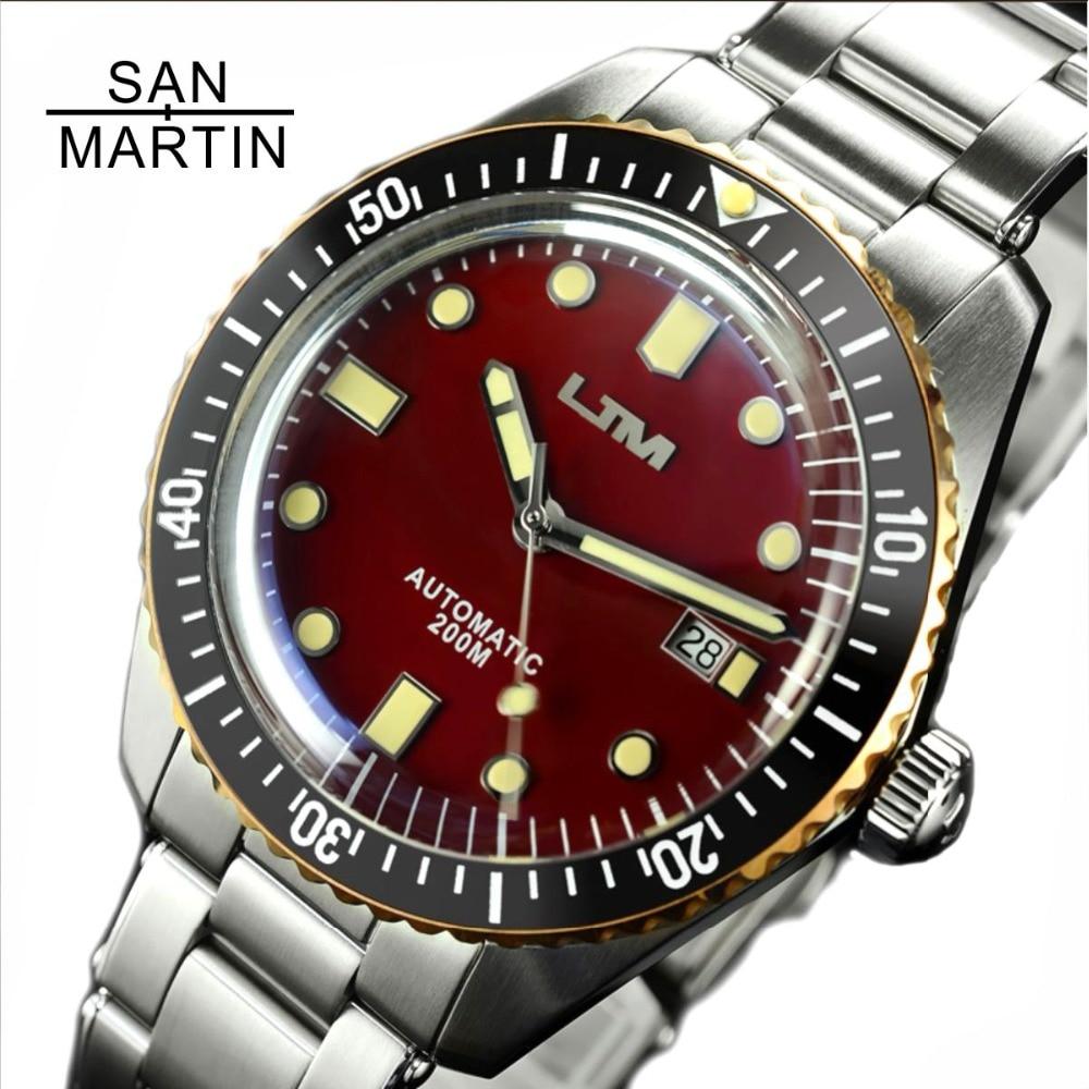 San Martin-Sessenta E Cinco Homens Do Vintage Relógio de Mergulho Relógio Automático do Aço Inoxidável 200 Anel de Bronze Retro Relógio de Pulso Resistente À Água