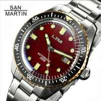 San Martin Sixty-Five Men Vintage Diving Watch Stainless Steel Automatic Watch 200 Water Resistant Bronze Ring Retro Wristwatch