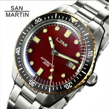 San Martin Sixty   Five ผู้ชาย Vintage ดำน้ำนาฬิกาสแตนเลสสตีลนาฬิกาอัตโนมัติกันน้ำ 200 Bronze Retro นาฬิกาข้อมือ
