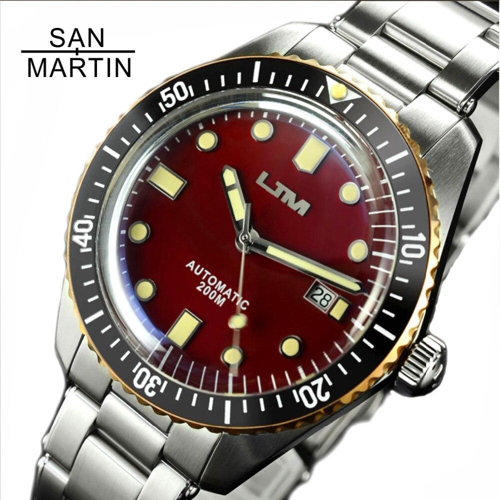 San Martin soixante-cinq hommes montre de plongée Vintage en acier inoxydable montre automatique 200 résistant à l'eau bague en Bronze montre-bracelet rétro