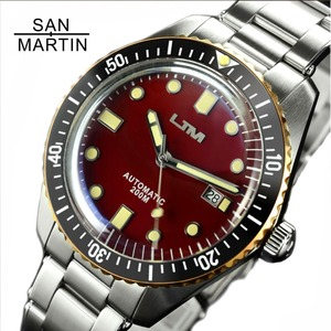 Image 1 - San Martin soixante cinq hommes montre de plongée Vintage en acier inoxydable montre automatique 200 résistant à leau bague en Bronze montre bracelet rétro