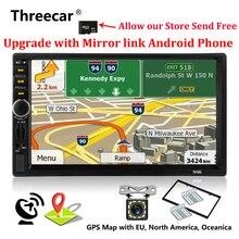 2 Din Автомобильный мультимедийный плеер + gps навигации + Камера карта 7 »HD Сенсорный экран автомобильный радиоприемник с Bluetooth MP3 MP5 видео стерео радио 7018 г