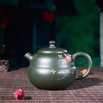 Yixing purple clay pot Genuine Full hand-made famous original mine green mud gourd pot Kungfu Teapot Set wholesale