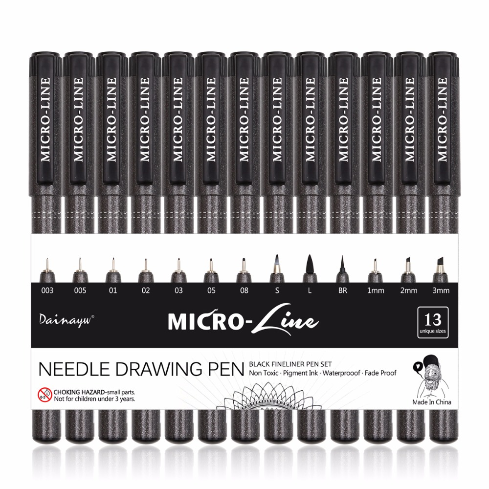 Dainayw 13Pcs/Set Micron Neelde Drawing Pen Waterproof Pigment Fine Line Sketch Markers Pen For Writing Office School touchnew 60 colors artist dual head sketch markers for manga marker school drawing marker pen design supplies 5type