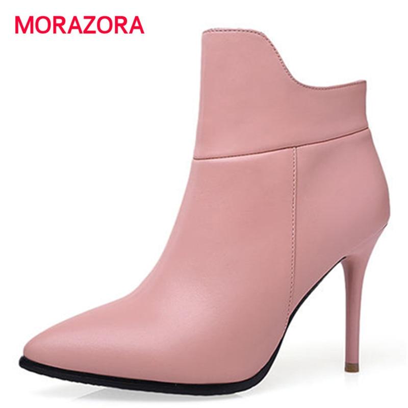 Del Morazora Las Invierno De 2018 Cuero Negro Moda Mujeres Otoño Nuevo Alto Botas rosado Genuino Para Talón Stiletto rPzqrfw