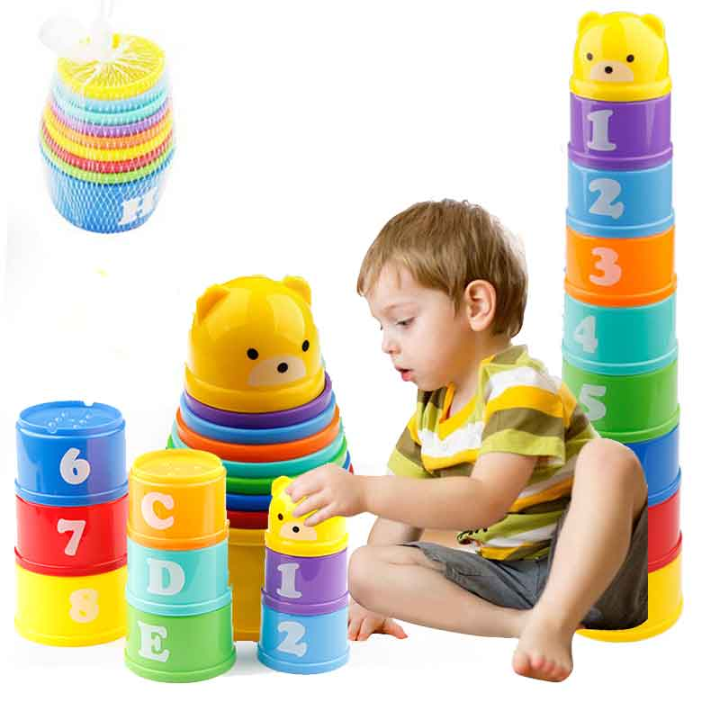 8PCS Educational Baby Toys 6Month Figures Letters Foldind Stack Cup Tower Children Early Intelligence Alphabet Toy For Children(China)