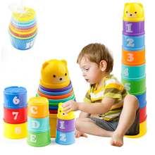 8 adet eğitici bebek oyuncakları 6 ay figürleri harfler katlanır yığını fincan kulesi çocuk erken zeka alfabe oyuncak çocuklar için