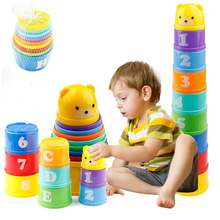 Infant Toddler Baby Educational Toys Stack Cup Tower Figures Letters Foldind Children Lovely Bear Cup Stacking Toys Gift цена