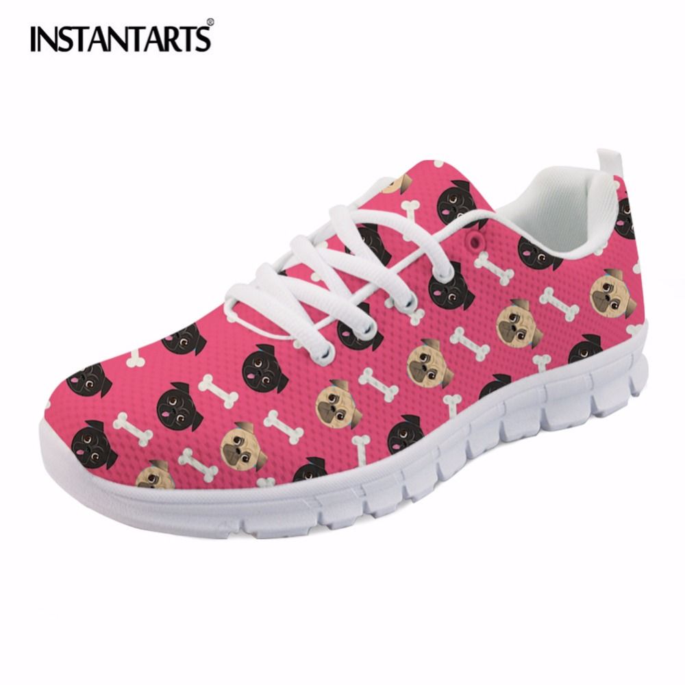 INSTANTARTS Summer Mesh Flat Shoes Women Cute Cartoon Animal Printed Breathable Sneakers for Girls Student Stylish Lace Up Flats instantarts cute women flat shoes puppies samoyed flower printed teen girls spring mesh flats shoes fashion comfortable sneakers