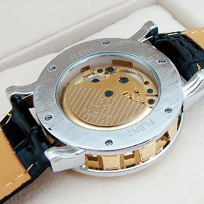 Mens Luxury Watch Gold Tone Skeleton Auto Leather Gift freeship