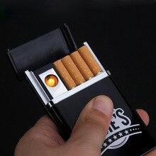 Zigarettenetui mit USB aufladbare leichter 8 Stücke Zigaretten Tasche Zigaretten Fall Automatische Ejection Zigarettenspitze