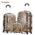 Design de Impressão leopardo-Carry Ons, Rolando Bagagem Set, Mulheres Presente Criança Linda Mala, ABS Saco de Viagem, roda Universal caixa Do Trole