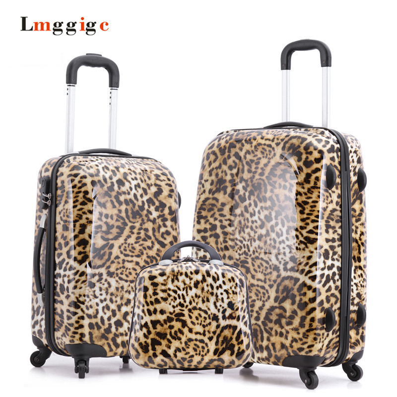 Leopard Print Design Carry Ons Rolling font b Luggage b font Set Child Women Gift Lovely