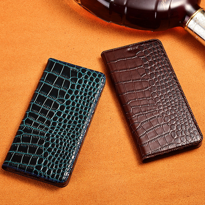 Natural Genuine Leather Cover Case For <font><b>Samsung</b></font> Galaxy A9 Pro <font><b>A9100</b></font> A9 2018 Crocodile Grain Flip Stand Phone Cover Case image