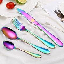 Многоцветный Набор радужных столовых приборов набор посуды черный набор столовых приборов вилка нож из нержавеющей стали столовые приборы набор домашней посуды