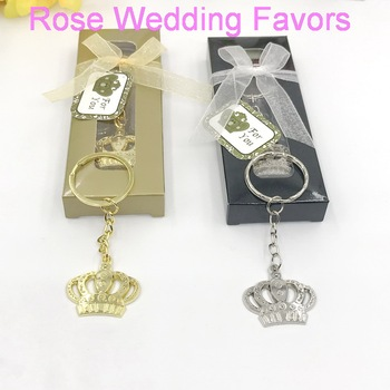 (15pcs/Lot)FREE SHIPPING+Majestic Crown Key Chain Baby Shower Favors Birthday Party Giveaway Gift For Guest