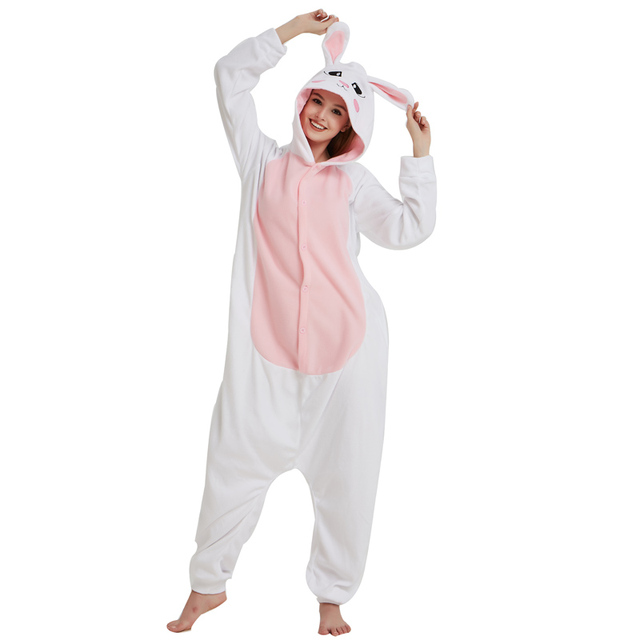 Halloween White Fleece Bunny Kigurumi For Women Winter Pajamas Rabbit Onesie  For Adult Cosplay Costume Party Sleepwear Men 5e3a409d0694