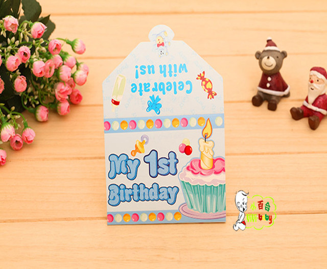 Birthday Cards Party Invitation Card Supporting Product Innovation Fold Greeting Is One Year Old