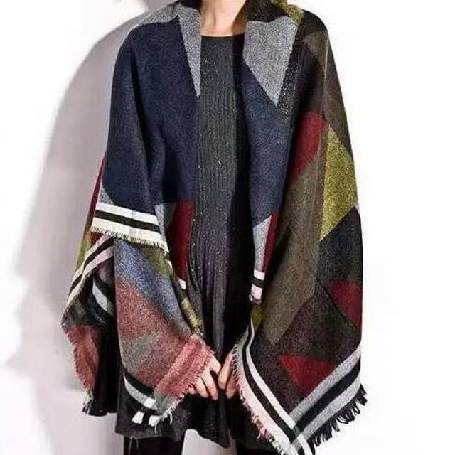 Geometric Fashion Winter Women Lady Warm Pashmina Faux Cashmere Square Scarves Big Stole Shawl Wrap Scarf 135*145cm
