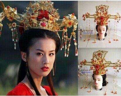 Старинные китайские женщины свадьба диадемы волосы частей красное золото свадебные свадьба крона с кисточкой древних императрица волосы ювелирных изделий