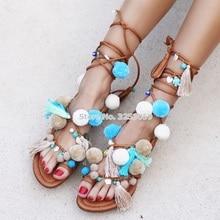ALMUDENA Bohemian Style Sky Blue Pom Pom Flat Sandals Lace-up Fringe Beach Dress