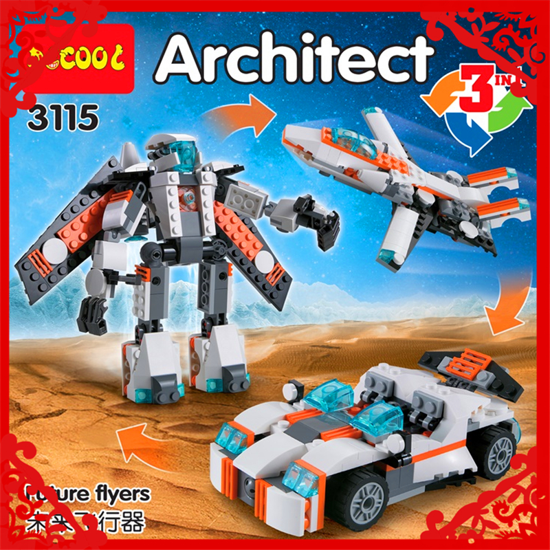 Decool 3115 City Creator 3 in 1 Future Flyers Robot 237Pcs Building Block Educational  Toys For Children Compatible Legoe decool 3114 city creator 3in1 vehicle transporter building block 264pcs diy educational toys for children compatible legoe