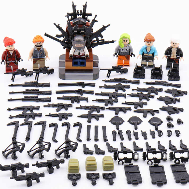 Compatible Legoed PUBG Military minifigured Special Forces soliders Figures Bricks Weapons pack Armed SWAT Building Blocks ww2