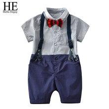 7507a6ae80f HE Hello Enjoy Летняя одежда для мальчиков От 1 до 5 лет костюмы короткий  рукав лук Рубашка с галстуком Блузка + ремни шорты Дет..